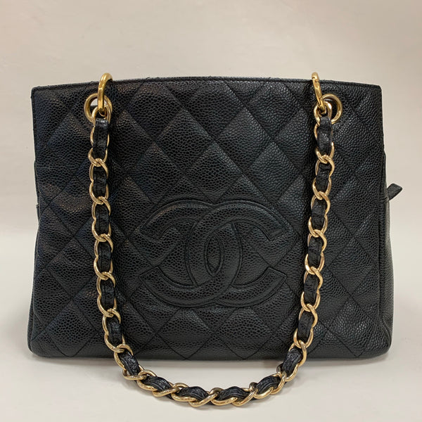 Authentic Chanel Black Caviar Petite Timeless Tote