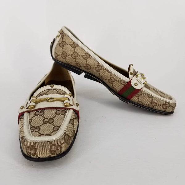 Authentic Gucci Brown Guccissima Web Driving Shoes