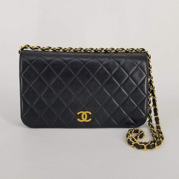 "Authentic Chanel Vintage Black Lambskin 9"" Flap"