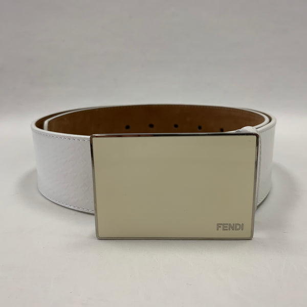 Authentic Fendi White Leather 1 1/2 Inch Width Belt