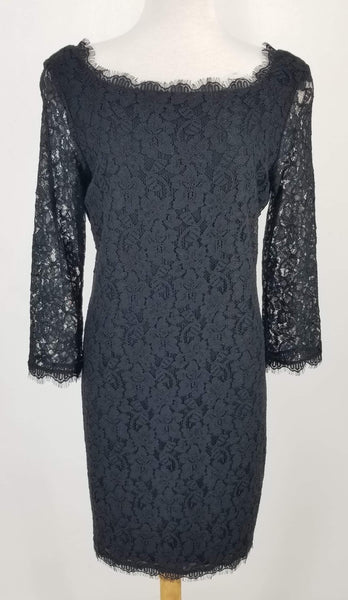 Authentic Diane Von Furstenberg Black Lace Dress Sz 10