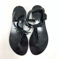 Authentic Salvatore Ferragamo Black Patent Bow Sandals