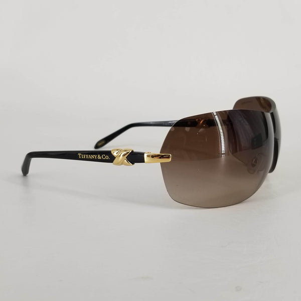 Authentic Tiffany & Co Brown Wrap Shield Sunglasses TF 3015