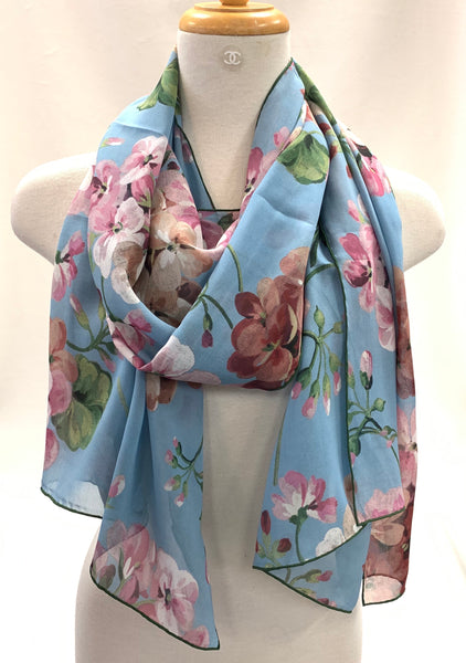 Authentic Gucci Blue Blooms Silk Georgette Scarf Shawl