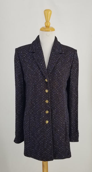 Authentic St. John Brown Jacket with Blue Accents