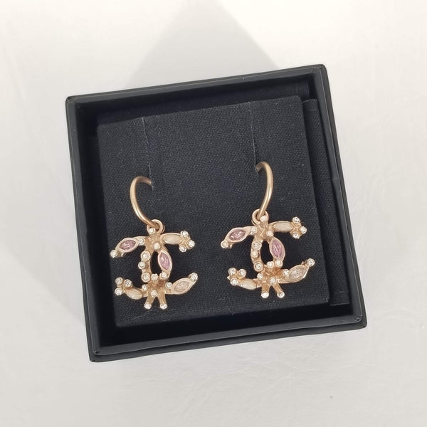 Authentic Chanel Rose Gold CC Drop Earrings