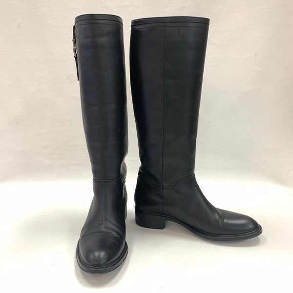 Authentic Salvatore Ferragamo Fersea Gancini Black Leather Riding Boots