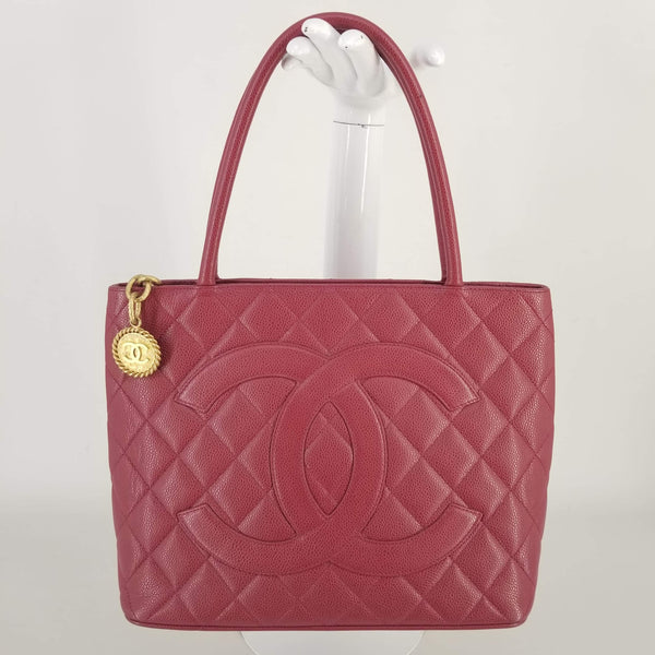 Authentic Chanel Cranberry Medallion Tote