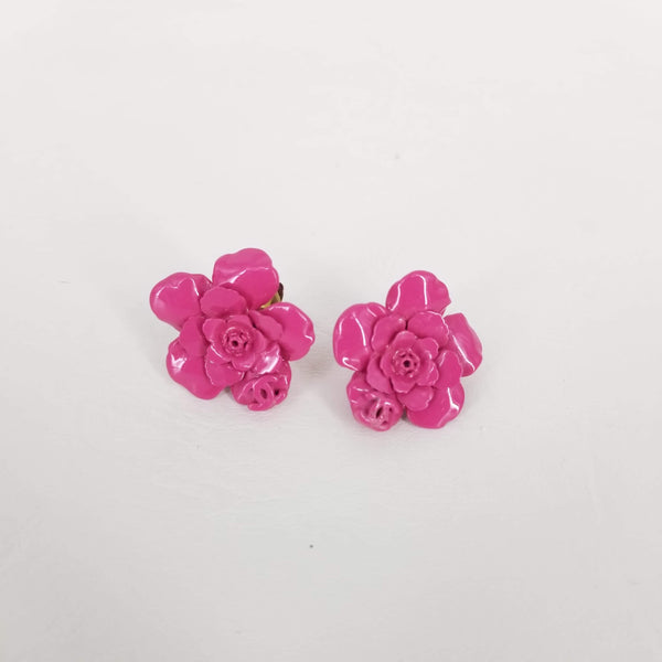 Authentic Chanel Fuschia Pink Flower Clip-on Earrings