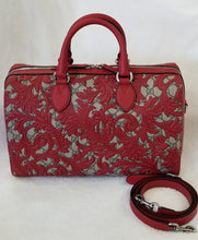 Load image into Gallery viewer, Gucci Boston Arabesque Supreme Red Leather Satchel