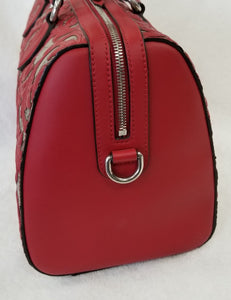 Gucci Boston Arabesque Supreme Red Leather Satchel