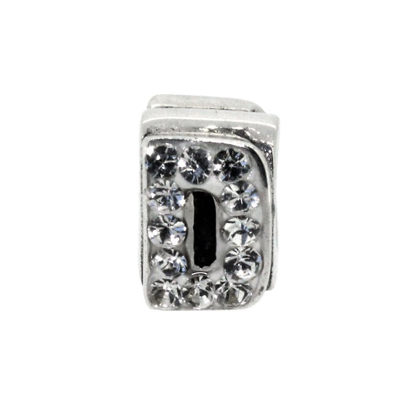 Miss Glitter Sterling Silver Letter D Charm