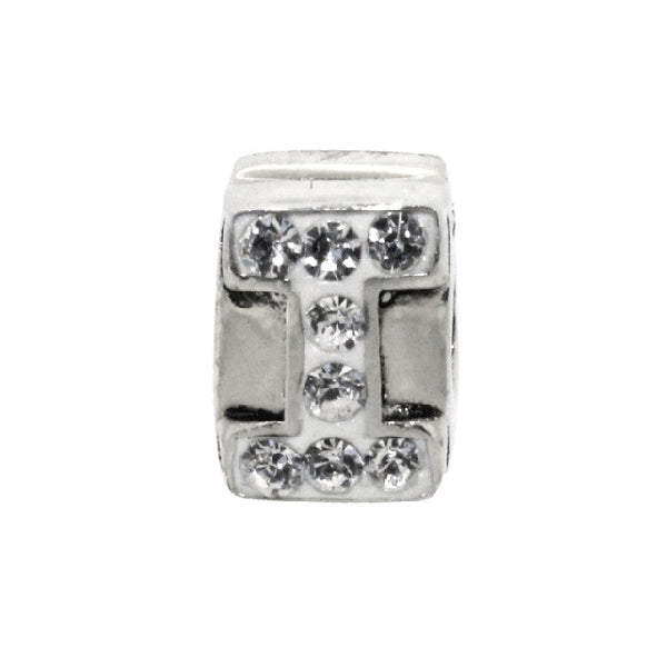 Miss Glitter Sterling Silver Letter I Charm