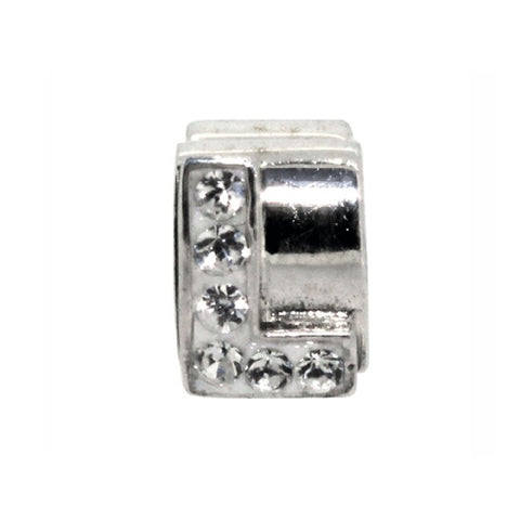 Miss Glitter Sterling Silver Letter L Charm
