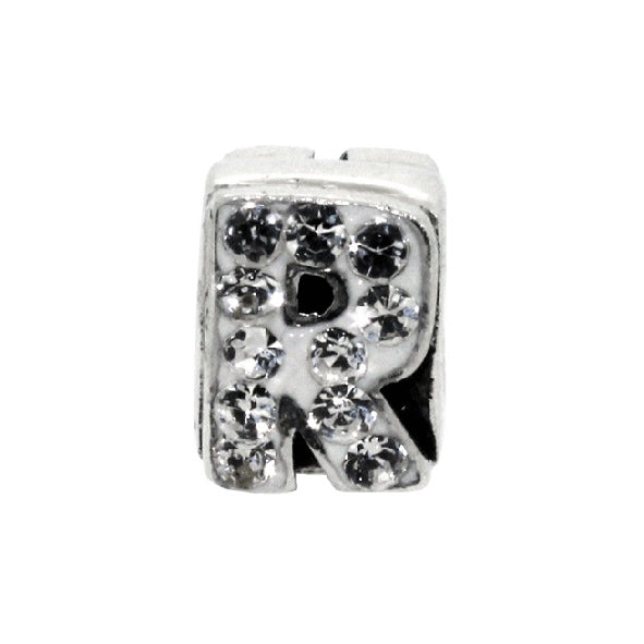 Miss Glitter Sterling Silver Letter R Charm
