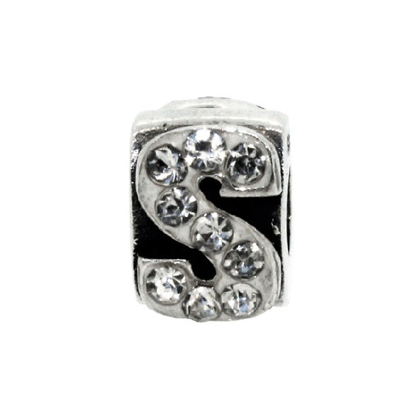 Miss Glitter Sterling Silver Letter S Charm
