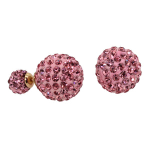 Link-Up Base Metal Double Sided Pink Crystal Earrings