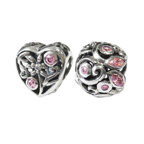 Link-Up Sterling Silver Pink Crystal Filigree Charms