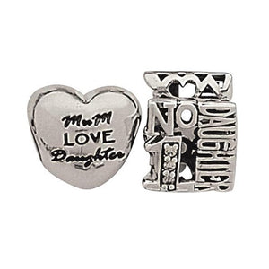 Link-Up Sterling Silver No.1 Daughter Charms