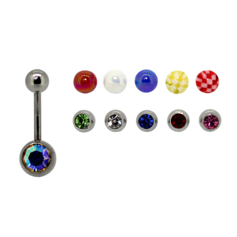 My Body Candy Belly Bar with Ten Interchangeable Balls
