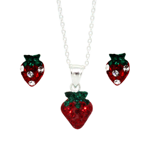 Miss Glitter Sterling Silver Set of Sparkly Strawberry Necklace and Earrings