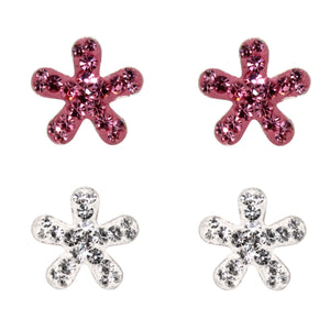 Miss Glitter Sterling Silver Set of Crystal Flower Stud Earrings