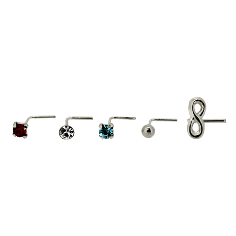 Bodifine Set of Five Sterling Silver Infinity Nose Studs
