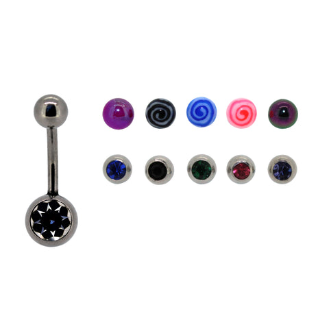 Bodifine Interchangeable Crystals and Bioflex Belly Bars