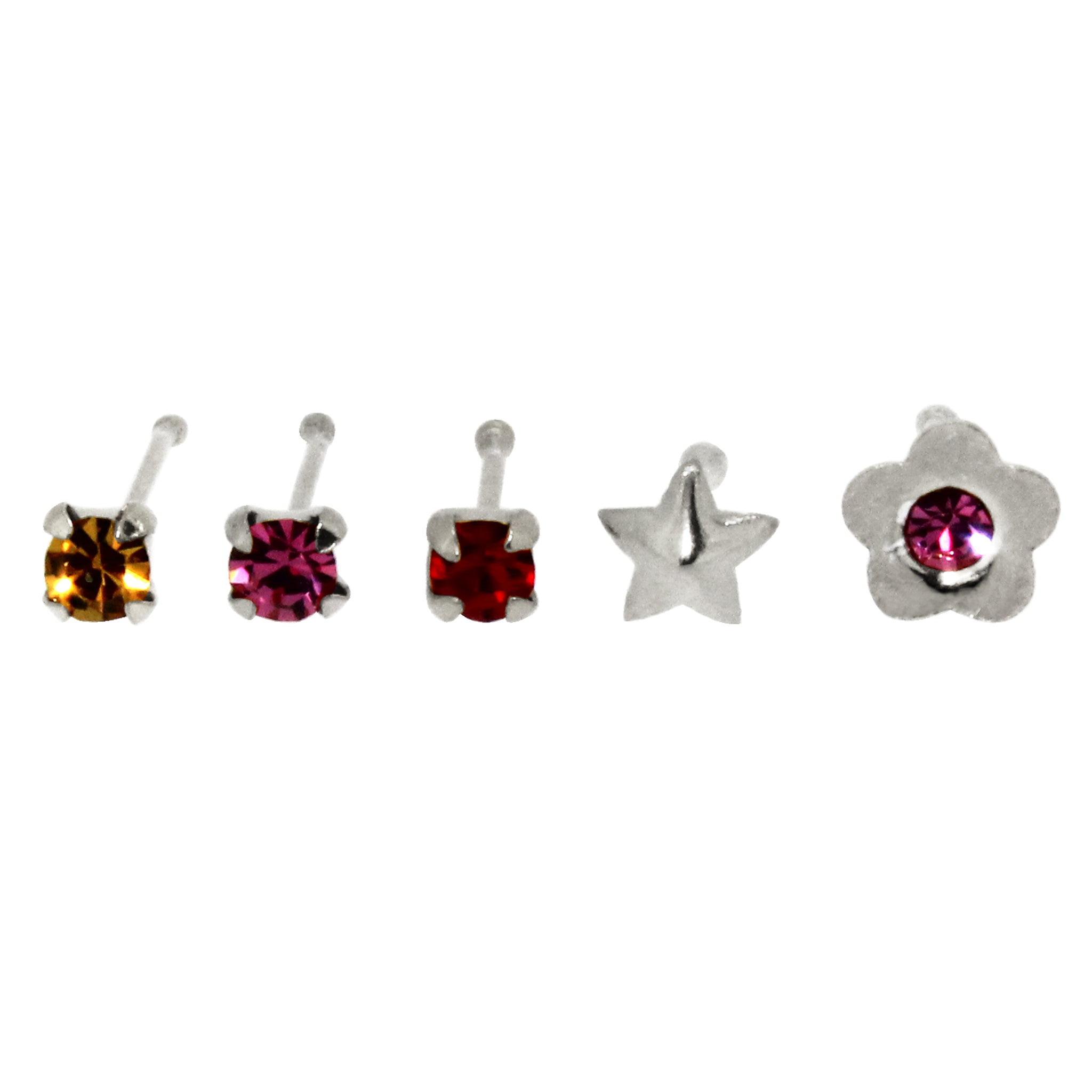 Bodifine Set of Five Sterling Silver Flower and Star Nose Studs