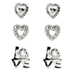 Miss Glitter Sterling Silver Heart and Love Stud Earrings Set of Three