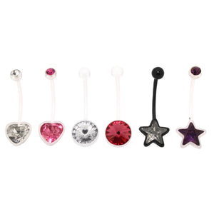 Bodifine Set of Six Bioflex Belly Bars with Crystals