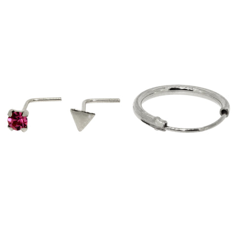 Bodifine Set of Three Sterling Silver Nose Studs and Rings