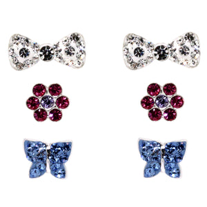 Miss Glitter Sterling Silver Bow, Rose and Butterfly Stud Earrings