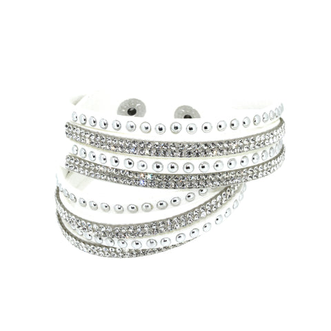 City Chic White Leather Wrap Bracelet with Crystals