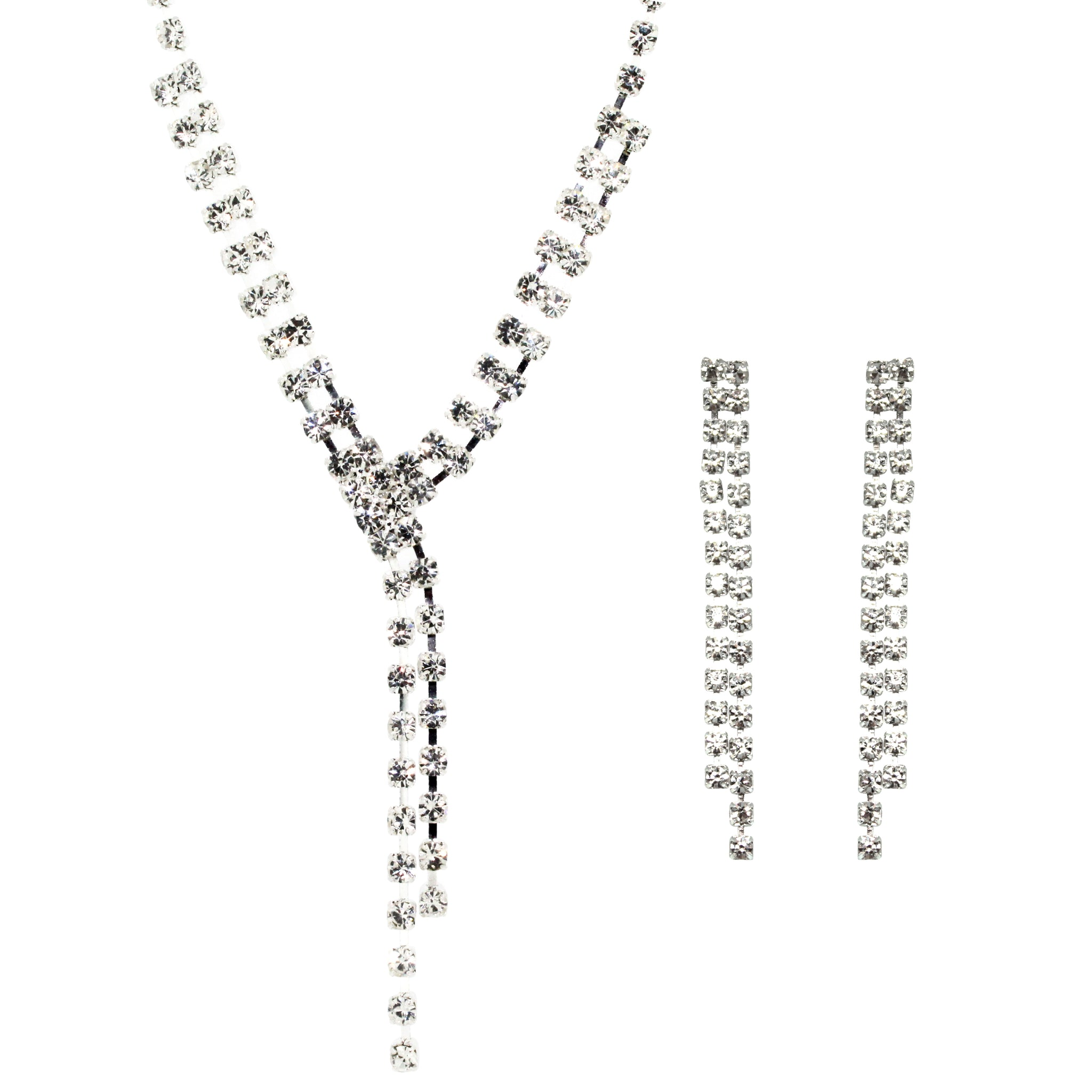 Hollywood Glamour Diamante Necklace and Earrings Set