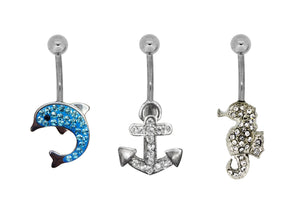 Bodifine Dolphin, Anchor and Seahorse Set of Belly Bars
