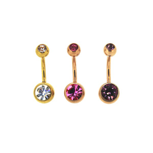 Bodifine Set of Three Gold Coloured Stainless Steel Belly Bars