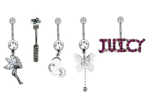 Bodifine Set of Five Belly Bars - Fairy, Screw, Butterfly