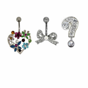Bodifine Heart, Bow and Question Mark Set of Three Belly Bars
