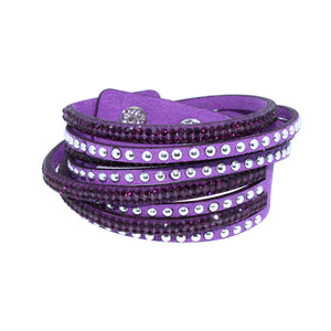City Chic Amethyst Leather Wrap Bracelet with Crystals