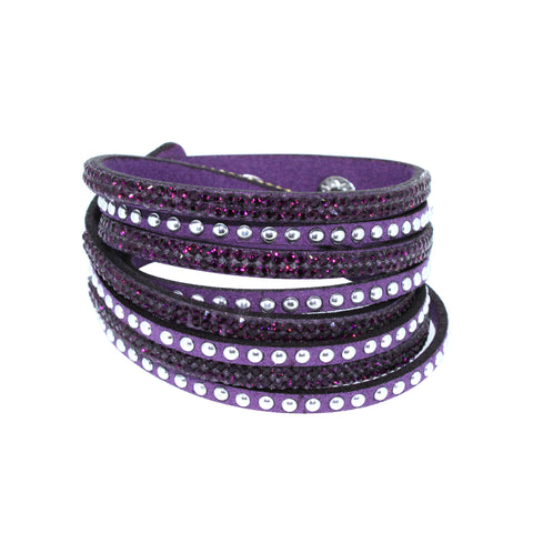City Chic Purple Leather Wrap Bracelet with Crystals