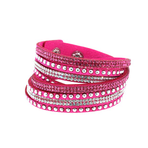City Chic Pink Leather Wrap Bracelet with Crystals