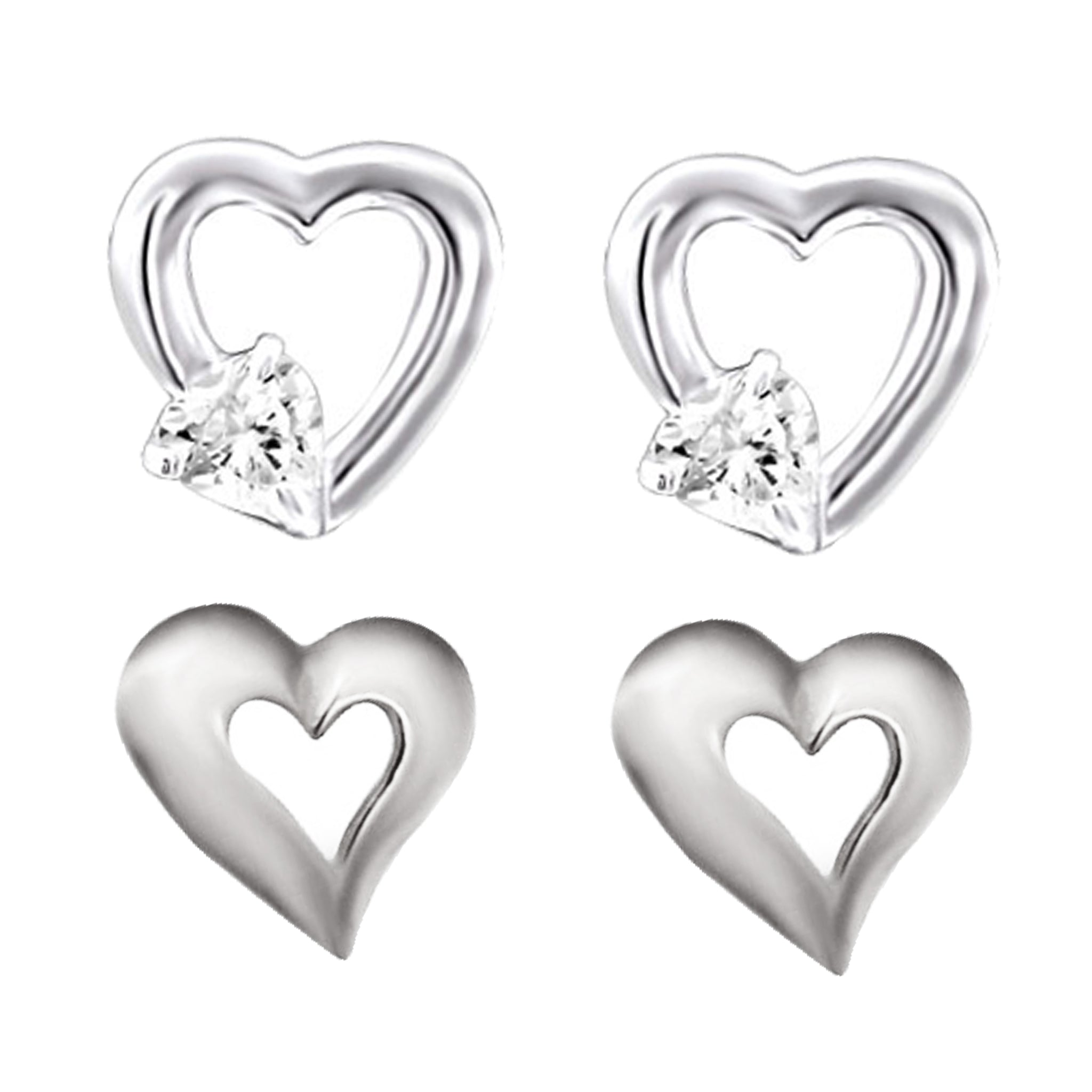 Link-Up Sterling Silver Set of Two Heart Shaped Stud Earrings