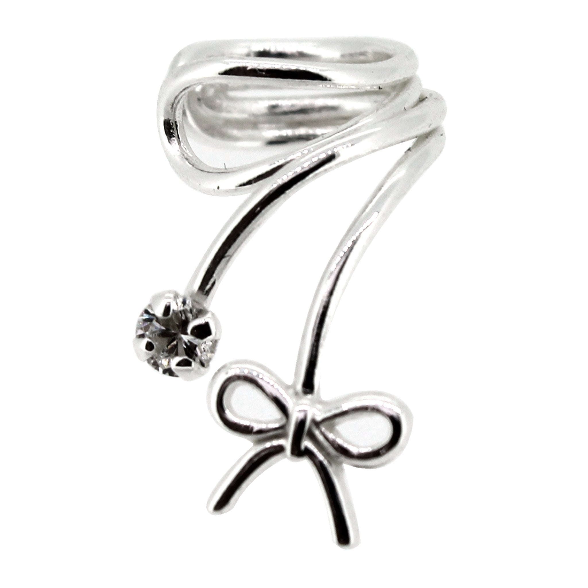 Link-Up Sterling Silver Ear Cuff with Bow and Crystal Stone