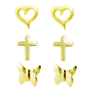 Link-Up 18ct Gold Plated Silver Set of Three Stud Earrings in Various Shapes