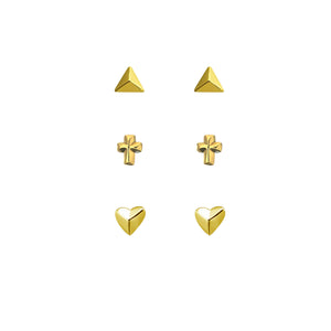 Link-Up 18ct Gold Plated Silver Stud Earrings - Set of Three in Various Shapes