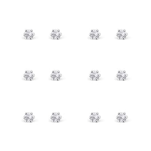 Link-Up Sterling Silver Set of Six Crystal Stud Earrings