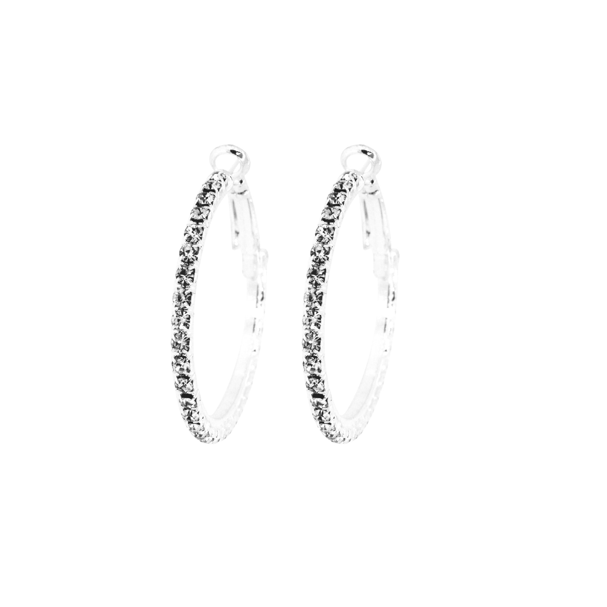 Hollywood Glamour Large Diamante Hoop Earrings