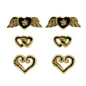 Link-Up Gold Plated Sterling Silver Set of Heart Stud Earrings