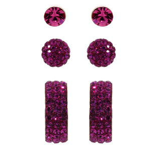 Link-Up Sterling Silver Fuchsia Crystal Set of Stud Earrings